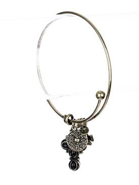 Bracelet / Cross / Metal / Bangle / Glass Bead / Charm / 2 1/2 Inch Diameter / Nickel And Lead Compliant