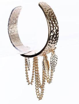 Bracelet / Leaf / Cuff / Texture Metal / 2 1/2 Inch Diameter / Nickel And Lead Compliant