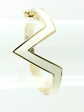 Bracelet / Chevron / Hinge / Metal / Epoxy / 2 1/2 Inch Diameter / Nickel And Lead Compliant