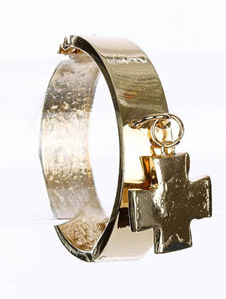 Bracelet / Cross / Hinge / Cuff / Metal / 2 1/2 Inch Diameter / Nickel And Lead Compliant