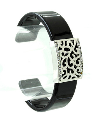 Bracelet / Filigree / Cuff / Metal / Acrylic / Crystal Stone / 2 1/4 Inch Diameter / Nickel And Lead Compliant