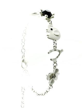Bracelet / Elephant / Horse Shoe / Wish Bone / Flower / Link / Chain / Matte / Metal / Crystal Stone / 6 Inch Long / Nickel And Lead Compliant