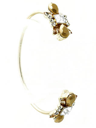 Bracelet / Shourouk / Cuff / Metal / Crystal Stone / Glass Bead / Metal Bead / 2 1/4 Inch Diameter / Nickel And Lead Compliant