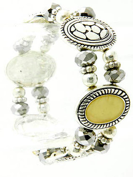 Bracelet / Stretch / Marcasite / Oval / Link / Metal / Abalone Shell / Metal Bead / 2 Inch Diameter / Nickel And Lead Compliant