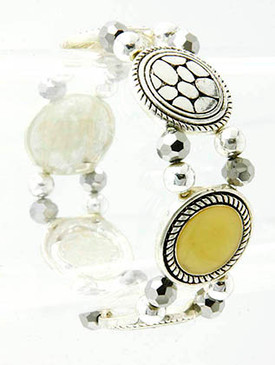 Bracelet / Stretch / Marcasite / Round / Link / Metal / Abalone Shell / Metal Bead / 2 Inch Diameter / Nickel And Lead Compliant
