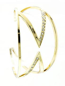 Bracelet / Cuff / Zig Zag / Metal / Crystal Stone / 2 Inch Tall / Nickel And Lead Compliant