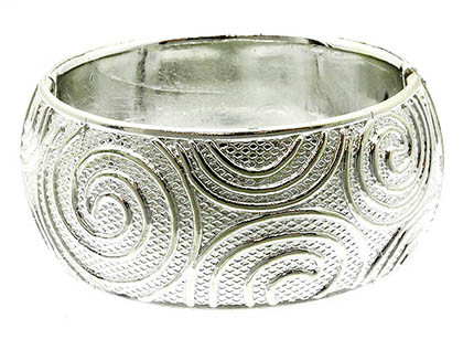 Bracelet / Bangle / Hinge / Swirl / 2 1/4 Inch Tall / Nickel And Lead Compliant