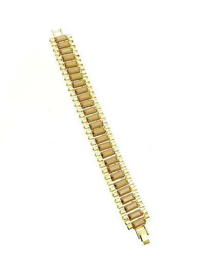 Bracelet / Link / Box Braid / Metal / Lucite Bead / 2 Inch Tall / Nickel And Lead Compliant
