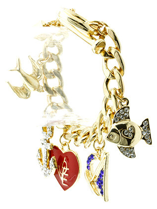 Bracelet / Chain / Charm / Heart / Anchor / Fish / Sail Boat / Bird / Love / Toggle / Metal / Epoxy / Crystal Stone Paved / 2 1/2 Inch Tall / Nickel And Lead Compliant