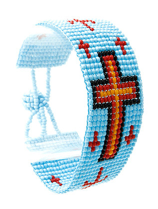 Bracelet / Micro Bead / Cross / Toggle / Lucite Bead / 2 Inch Tall / Nickel And Lead Compliant