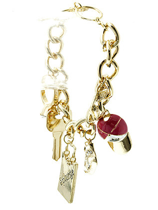 Bracelet / Chain / Charm / Splurge / Car Keys / Shoe / Cap / Ring / Sunglass / Fashion / Toggle / Metal / Crystal Stone Paved / Epoxy / 3 Inch Tall / Nickel And Lead Compliant