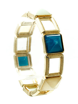 Bracelet / Stretch / Square / Link / Texture Metal / Faceted Lucite / 2 1/2 Inch Tall / Nickel And Lead Compliant