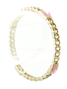 Bracelet / Bangle / Metal Chain / Faceted Lucite Stone / 1/4 Inch Tall / Nickel And Lead Compliant