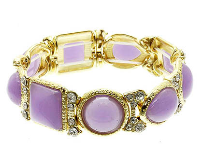 Bracelet / Shapes / Semi Precious Stone / Crystal Stone / Stretch / Metal / Chunky / 1/2 Inch Wide / Nickel And Lead Compliant