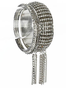 Bracelet / Crystal Stone Paved / Metal / Crystal Stone / 3 Pcs / 1 1/3 Inch Tall / Nickel And Lead Compliant