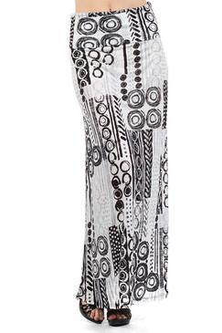 Print Full Length Skirt with Overlapped Waist