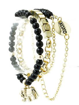 Bracelet / Elephant Charm / Stretch / Metal / Semi Precious Stone / Animal / 4 Pcs / 1 1/3 Inch Tall / Nickel And Lead Compliant