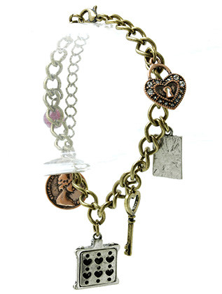 Bracelet / Charms / Link / Metal / Burnish / Crystal Stone / Eiffel Tower Camera Cross / 1 Inch Tall / Nickel And Lead Compliant