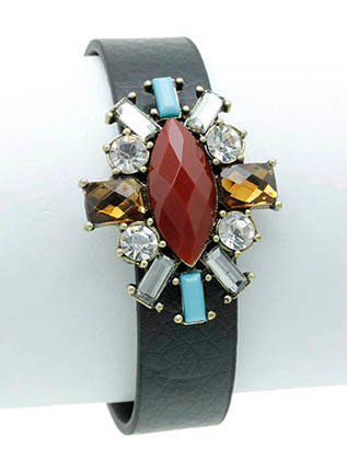 Bracelet / Shourouk / Clip / Leather / Metal / Faceted Glass Bead / Lucite Bead / Crysta Stone Paved / 1 Inch Tall / Nickel And Lead Compliant