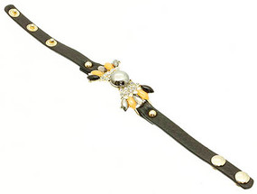 Bracelet / Shourouk / Clip / Leather / Metal / Crystal Stone Paved / Glass Bead / Lucite Bead / 3/4 Inch Tall / Nickel And Lead Compliant