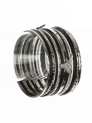 Bracelet / Stackable / Bangle / Metal / Epoxy / Crystal Stone Paved / 13 Pcs / Animal / Longhorn / 1 3/4 Inch Tall / Nickel And Lead Compliant