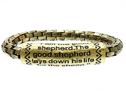 Bracelet / Religious Message / Stretch / Metal / Burnish / John 10:11 / 1/3 Inch Tall / Nickel And Lead Compliant