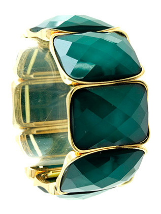 Bracelet / Faceted Lucite Bead / Stretch / Metal / 1 1/4 Inch Tall / Nickel And Lead Compliant