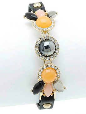 Bracelet / Shourouk / Clip / Leather / Metal / Crystal Stone / Glass Bead / Lucite Bead / 2/3 Inch Tall / Nickel And Lead Compliant