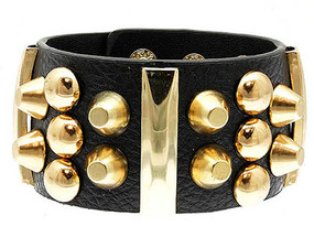 Bracelet / Leather / Clip / Metal / Studded / 1 1/2 Inch Tall / Nickel And Lead Compliant
