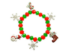 Bracelet / Stretch / Metal / Lucite Bead / Epoxy / Charms / Snowflakes Snowman Candycane Boot / Christmas / 1 Inch Tall / Nickel And Lead Compliant