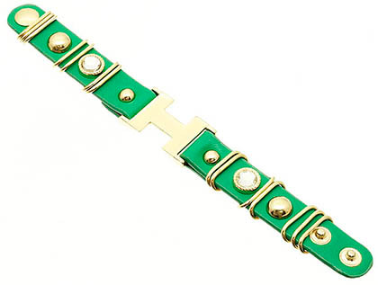 Bracelet / Leather / Metal / Metal Clip / Crystal Stone / Glass Bead / Letter H / 1 Inch Tall / Nickel And Lead Compliant