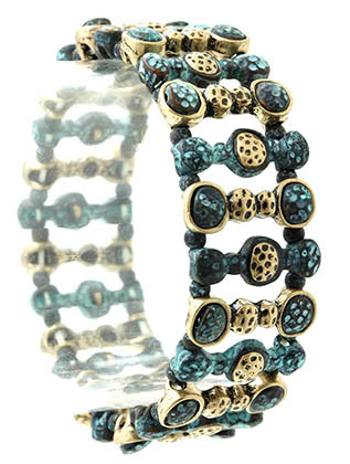 Bracelet / Stretch / Metal / Burnish / Patina / 3/4 Inch Tall / Nickel And Lead Compliant