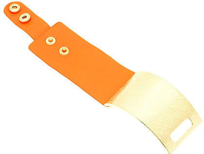 Bracelet / Clip / Leather / Textured Metal / 1 1/2 Inch Tall / Nickel And Lead Compliant