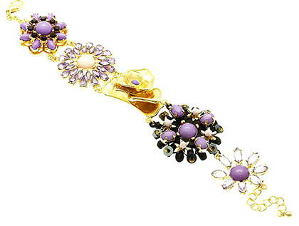 Bracelet / Link / Metal / Burnish / Crystal Stone / Lucite Bead / Flower / 1 1/4 Inch Tall / Nickel And Lead Compliant