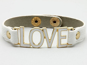 Bracelet / Clip / Leather / Metal / Epoxy / Message / Love / 2/3 Inch Tall / Nickel And Lead Compliant