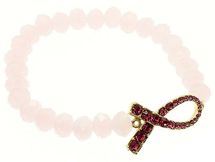 Bracelet / Stretch / Metal / Semi Precious Stone Bead / Crystal Stone / Breast Cancer Awareness / 1/2 Inch Tall / Nickel And Lead Compliant