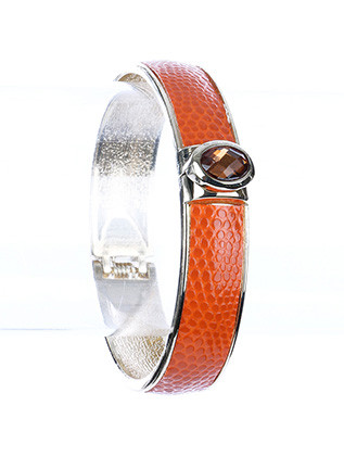 Bracelet / Hinge / Metal / Crystal Stone / Snake Skin Faux Leather / 2 1/2 Inch Diameter / 1/2 Inch Tall / Nickel And Lead Compliant