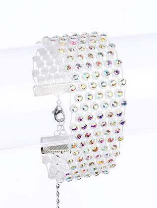 Bracelet / Link / Metal / Crystal Stone / Epoxy / 1 Inch Tall / Nickel And Lead Compliant
