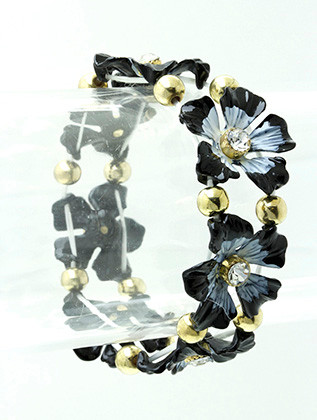 Bracelet / Stretch / Brass / Crystal Stone / Epoxy / Flower / 2 1/4 Inch Diameter / 3/4 Inch Tall / Nickel And Lead Compliant