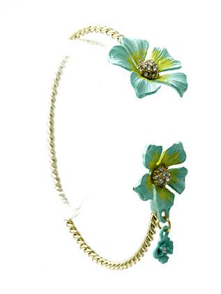 Bracelet / Cuff / Brass / Crystal Stone / Epoxy / Flower / Charm / 1 Inch Tall / Nickel And Lead Compliant