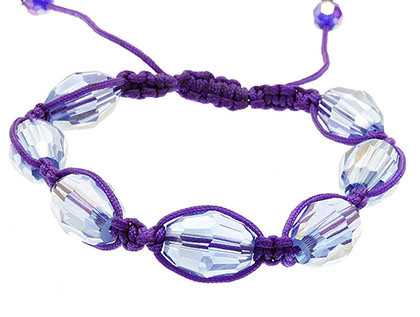 Bracelet / Adjustable / Faceted Glass Bead / 1/3 Inch Tall / Nickel And Lead Compliant