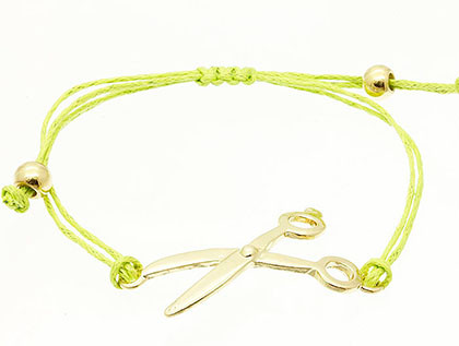 Bracelet / Metal Scissors / Adjustable / Braided Double Cord / 2 Inch Diameter / 3/4 Inch Tall / Nickel And Lead Compliant