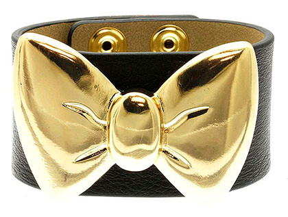 Bracelet / Clip / Leather / Metal / Bow / Ribbon / 1 1/2 Inch Tall / Nickel And Lead Compliant