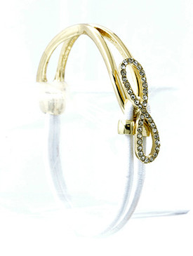 Bracelet / Hook / Stretch / Metal / Crystal Stone Paved / Elastic / Infinity / 1/3 Inch Tall / Nickel And Lead Compliant