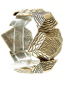 Bracelet / Stretch / Textured Metal / Burnish / Geometric / 1 1/2 Inch Tall / Nickel And Lead Compliant