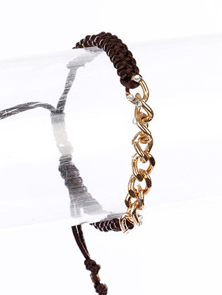 Bracelet / Adjustable / Cord / Metal Chain / Crystal Stone / 1/4 Inch Tall / Nickel And Lead Compliant