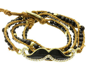 Bracelet / Cord / Metal / Lucite Bead / Crystal Stone / Epoxy / Mustache / 1 Inch Tall / Nickel And Lead Compliant