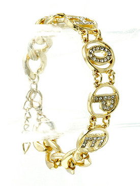 Bracelet / Link / Metal / Crystal Stone / Message / Hope / 1/2 Inch Tall / Nickel And Lead Compliant
