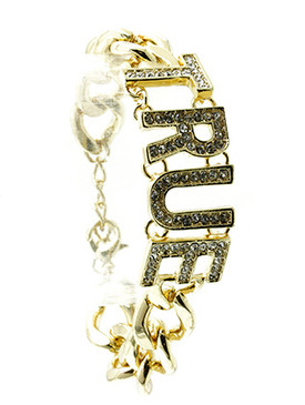 Bracelet / Link / Metal / Crystal Stone / Message / True / 3/4 Inch Tall / Nickel And Lead Compliant