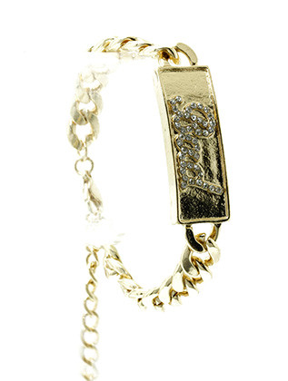 Bracelet / Link / Metal / Crystal Stone / Message / Bad / 1/2 Inch Tall / Nickel And Lead Compliant